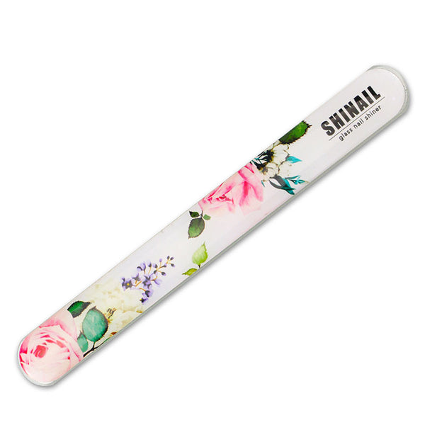 Shinail Crystal Glass Nail File And Buffer Shiner Polisher Manicure Tool For Natural Nails Baby Nail Care with Leather Case Carry On Pouch - Lovely Rose