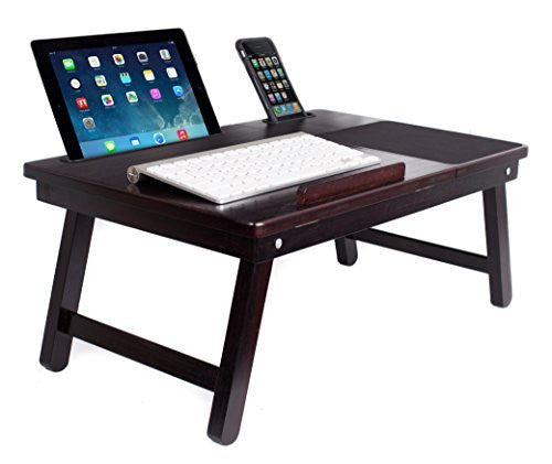 Multi Tasking Laptop Bed Tray (Walnut) | Supports Laptops Up To 18 Inches