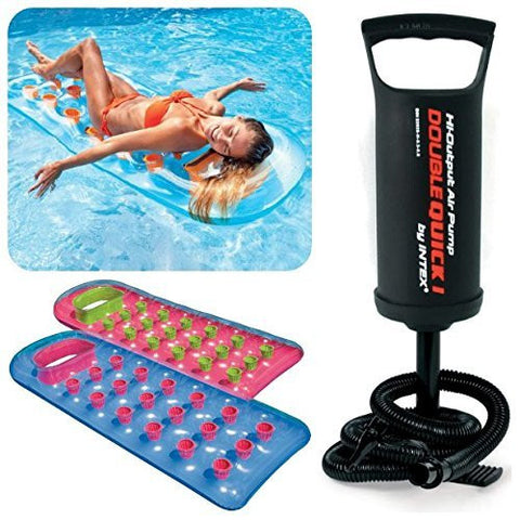 Intex Inflatable Pool Float Lounge + Intex Double Quick Hand Pump - Pool Floats