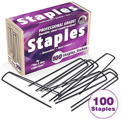 100 6-Inch Garden Landscape Staples Stakes Pins - USA Strong Pro Quality Built