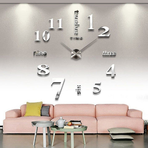 Teika Modern Frameless Large 3D DIY Wall Clock Kit Decoration Home for Living