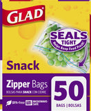 Glad Food Storage Bags Zipper Snack 50 Count