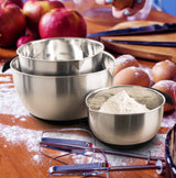Chef Essential Stainless Steel Non-Slip Mixing Bowls Set with Handles Set of 3