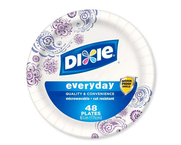 Dixie Heavy Duty Paper Plates 6.875 Inch 48 Count (Pack of 3)