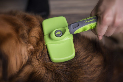 Petio Basics - Best Dog Self Cleaning Slicker Brush with Ergonomic Non-Slip Hand