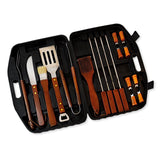 18pcs Stainless-Steel Wood Handle Barbecue BBQ Tool Set with Storage Case
