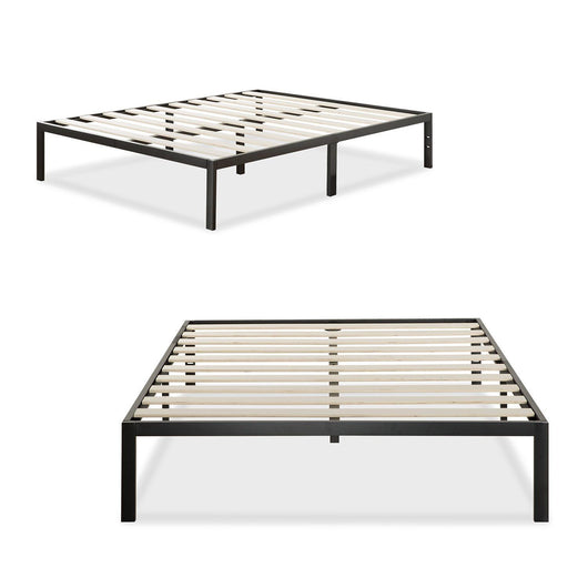 Metal Bed Frame/Mattress Foundation Wooden Slat Support Queen
