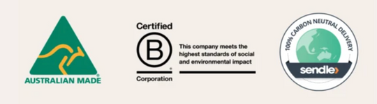 Australian Mad,e B Corp Certified, and sendle badge