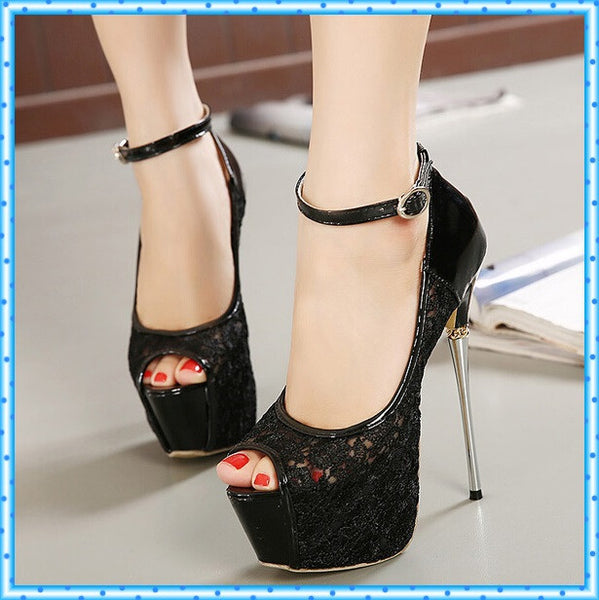 Lace Peep Toe Platforms