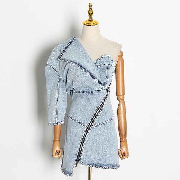 Denim One Shoulder Dress