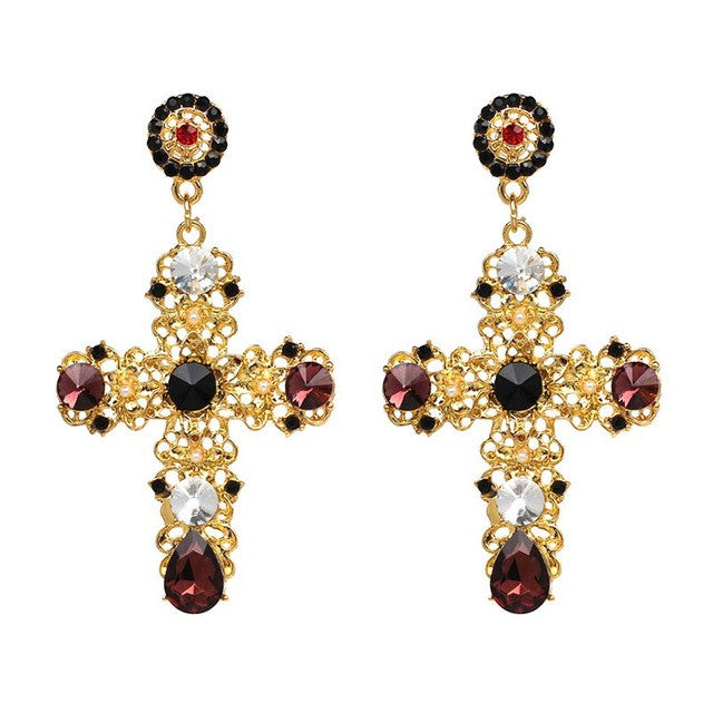 Vintage Black Crystal Cross Earrings