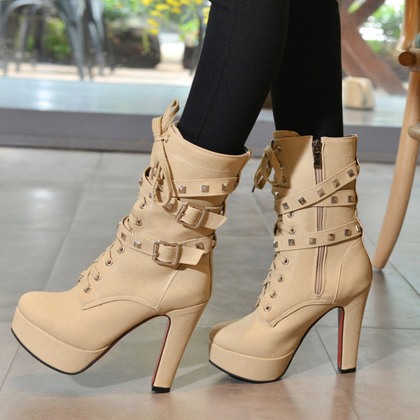 Lace Up Rivets Buckle Boots