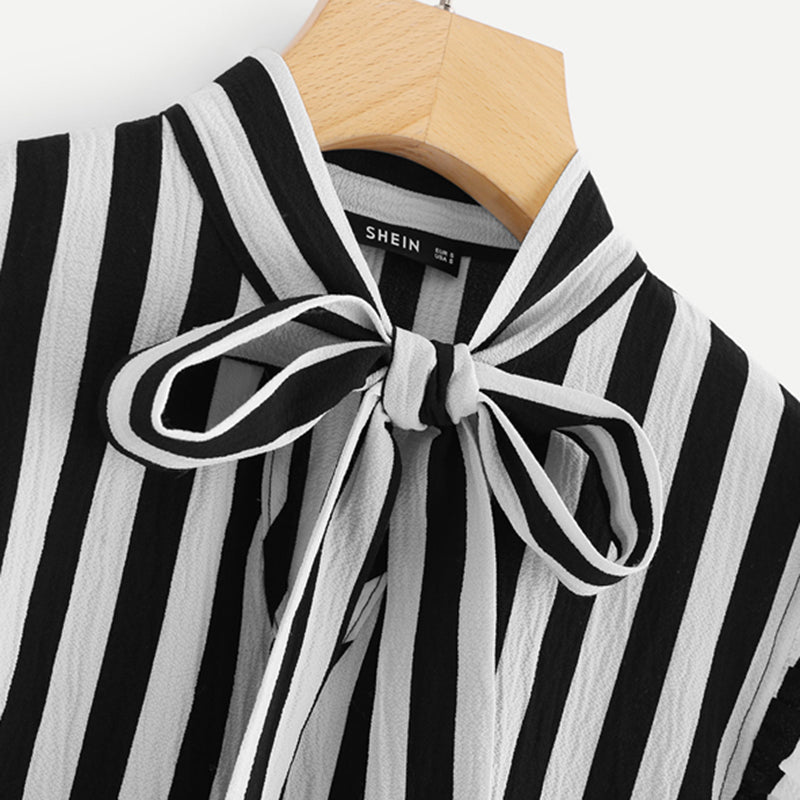 Striped Butterfly Sleeve Blouse