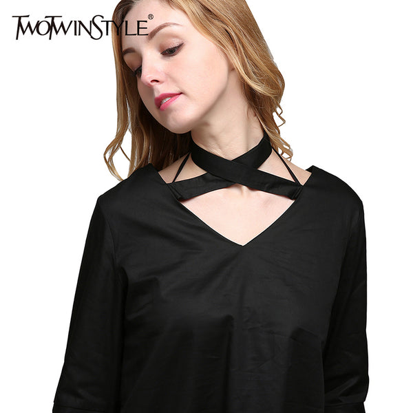 Flared Choker Blouse