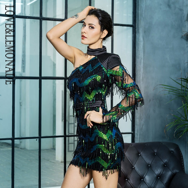 One Shoulder Peacock Dress