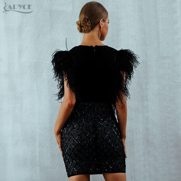 Feathered V Neck Party Dress