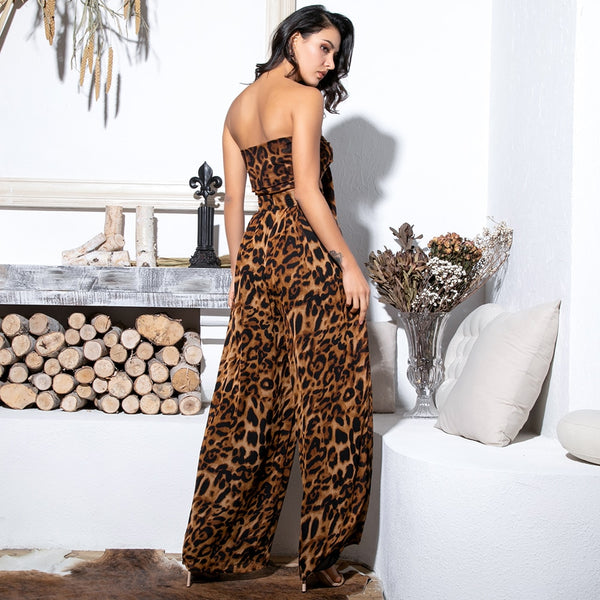 Leopard Chiffon High Waist Set