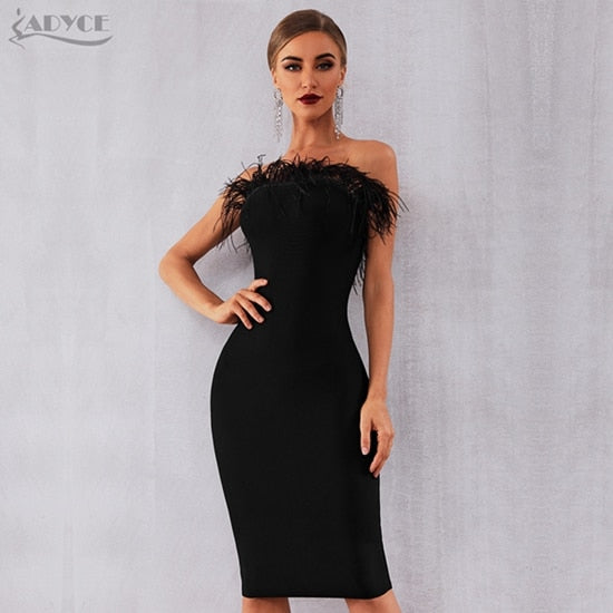 Feathered Strapless Bodycon