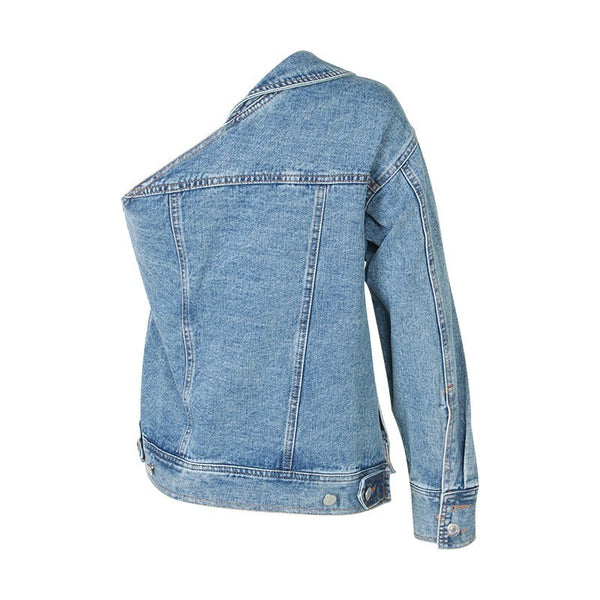 One Shoulder Denim Jacket