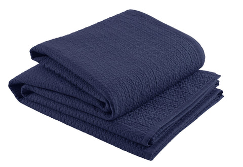 "Christy ""Amalfi"" Quilted Throws and Pillow Shams - Midnight Blue"