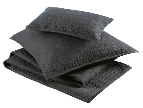 "Christy ""Amalfi"" Quilted Throws and Pillow Shams - in Charcoal Grey"