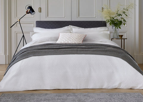 "Bedeck of Belfast ""Kenza"" Duvet Cover Sets in Chalk"