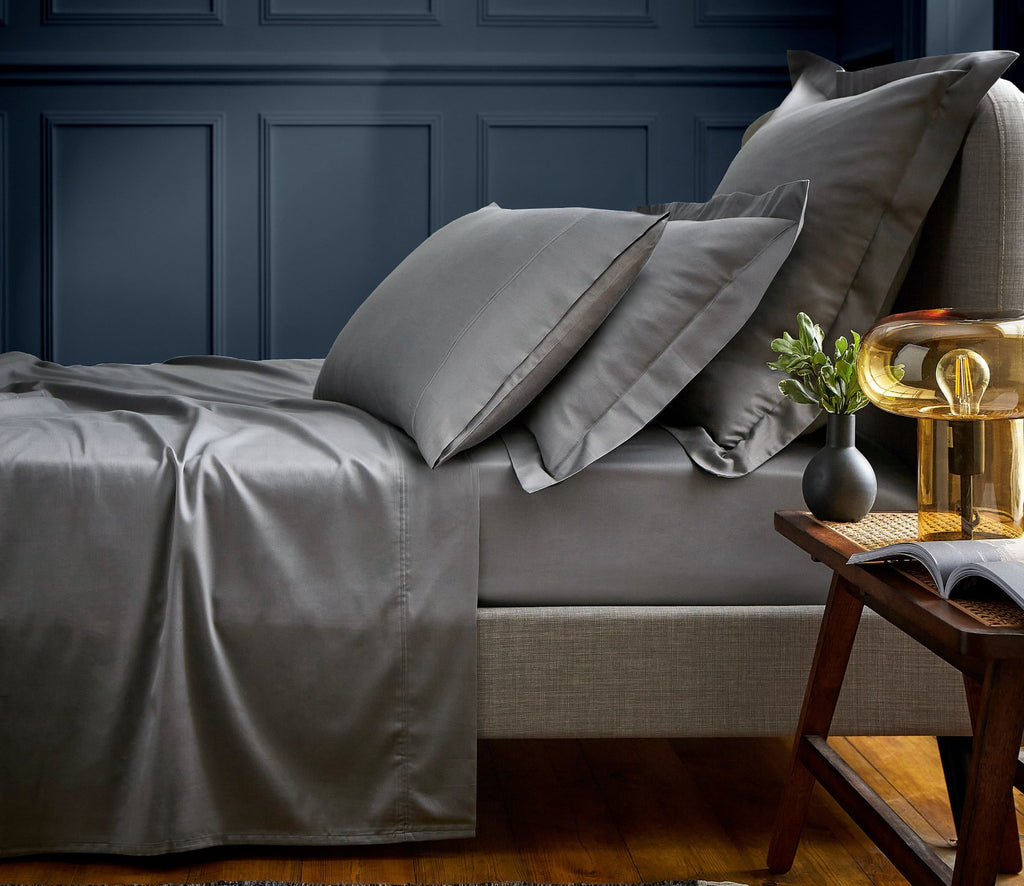 "Bedeck of Belfast ""600TC Egyptian Cotton Sateen"" Plain Dyed Sheet in Grey"