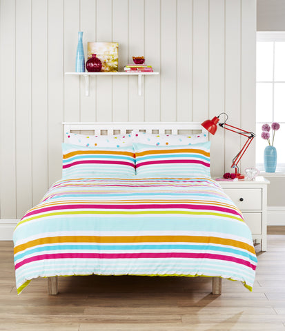 "Humming Bird ""Circus Stripe"" Bed Linen - with cute Polka Dot reverse."