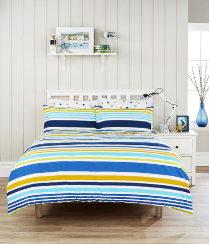 "Humming Bird ""Circus Stripe"" Bed Linen - with cute Polka Dot reverse"