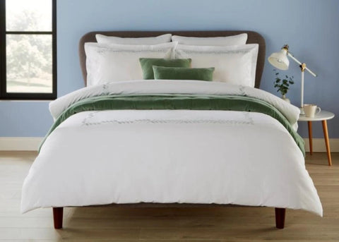 "Christy ""Clarendon"" Duvet Cover Sets & Flat Sheet with Sage Embroidery"