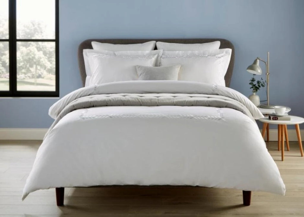 "Christy ""Clarendon"" Duvet Cover Sets & Flat Sheet with White Embroidery"
