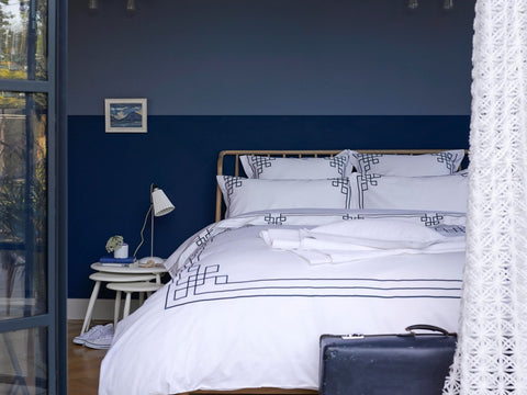 "Christy ""Corinth"" Bed Linen - White with Blue embroidery"