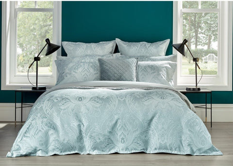 "NEW! - Christy ""Fairfield"" Jacquard Comforter & Bedspread Sets in Duck Egg Colour"