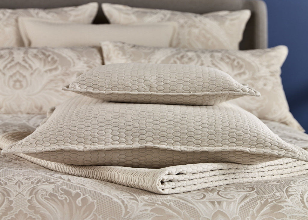"Christy ""Honeycomb Matelasse""  Throw & Cushion Accessories - Colour Oyster"