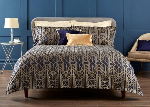 "Christy Premium ""Gatsby"" Duvet Cover Sets in Navy"
