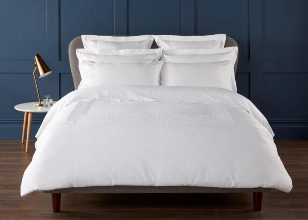 "Christy Premium ""Gawsworth"" Duvet Cover with Ladder Stitch & Embossed Embroidery"