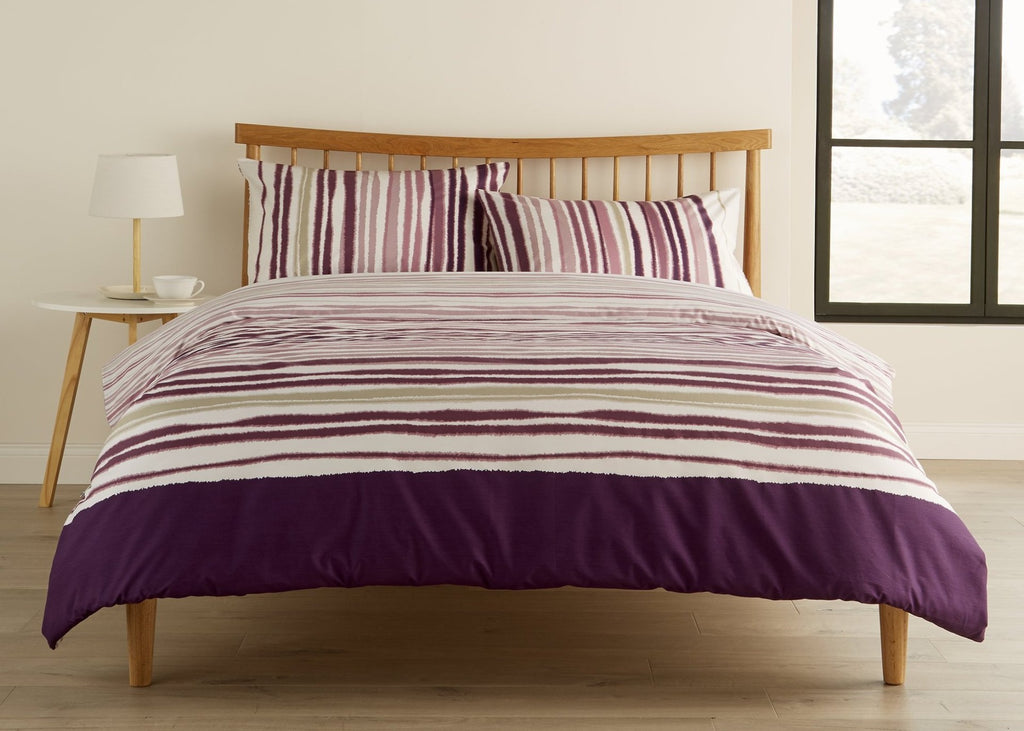 "Kingsley ""Haven Stripe"" Bed Linen - Berry"