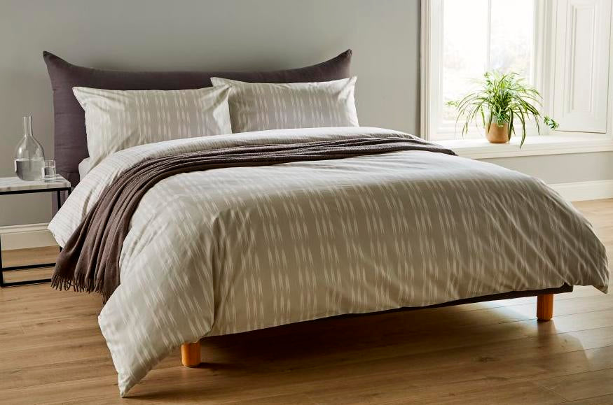 "Christy ""Ikat"" Bed Linen - Colour Silver"