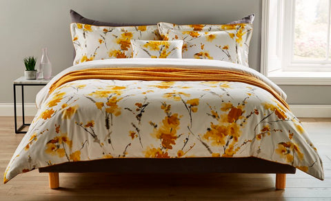"Christy ""Ink Flower"" Bed Linen - Colour Ochre"
