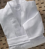 "Linen Obsession ""Spa Waffle"" Bath Robe in White"