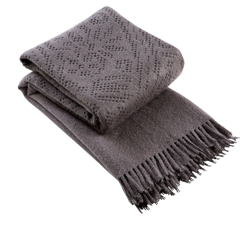 "Christy ""Lace"" Super Soft Throw - Charcoal Colour"