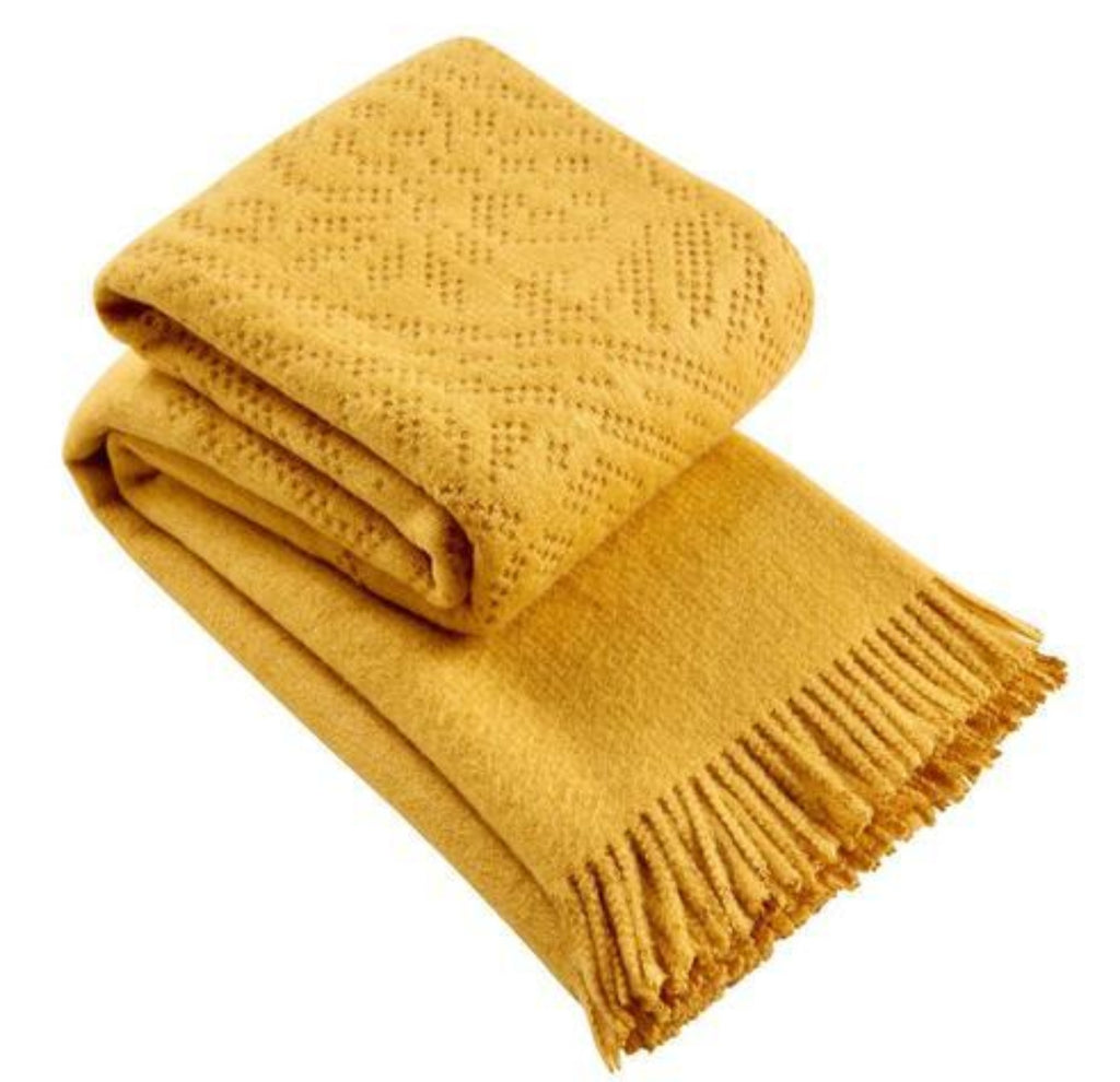 "Christy ""Lace"" Super Soft Throw - Ochre Colour"