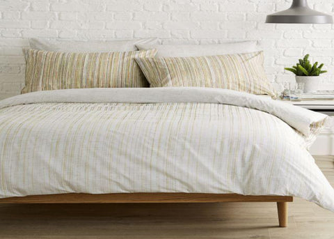 "Kingsley ""Linear"" Bed Linen - Yellow/Coral"