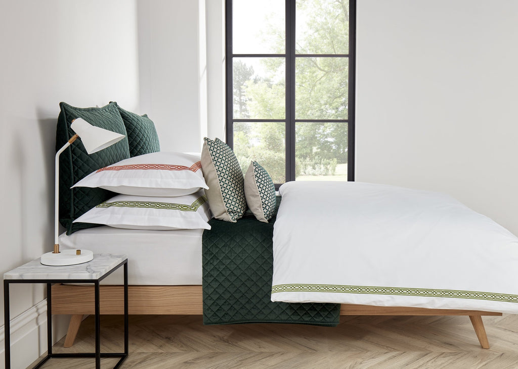 "Christy ""Matsuko"" Bed Linen - Colour Moss Embroidery"