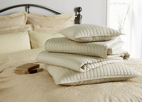 "Christy ""Metropolitan"" Throw, Euro Shams and Cushion - colour Pale Stone"