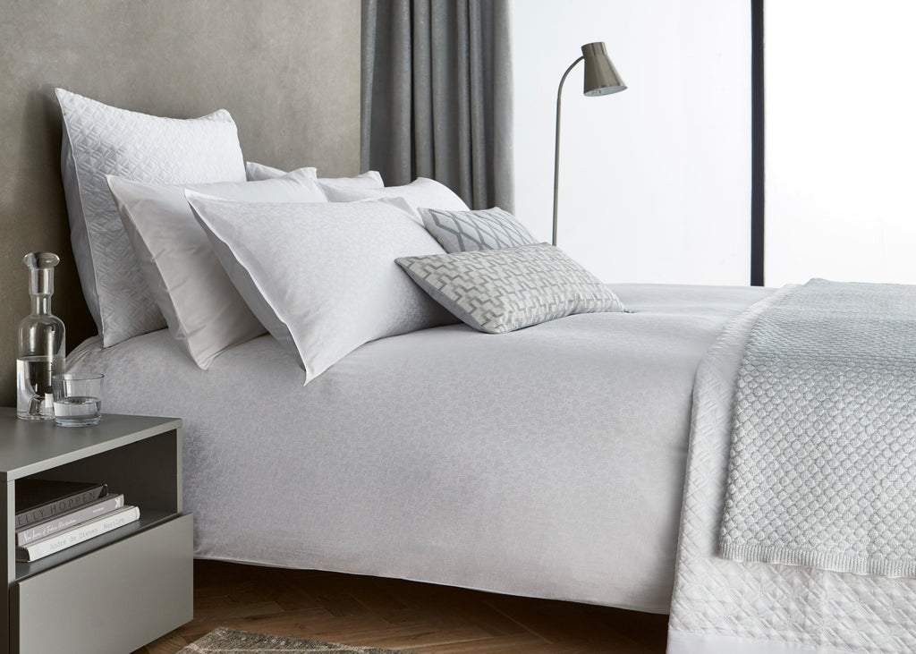"Peacock Blue Hotel ""Aura"" Textured Duvet Cover Sets in White"