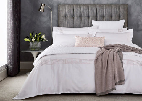 "Peacock Blue Hotel ""Tropea"" Duvet Cover in Dusky Pink Colour"