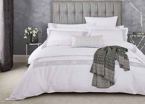 "Peacock Blue Hotel ""Tropea"" Duvet Cover in Platinum Colour"