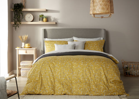 "NEW! - Christy ""Sakura"" Duvet Cover Sets in Buttercup Colour"