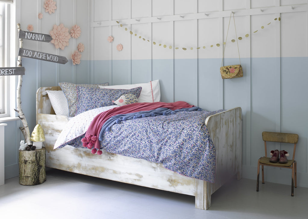 "Christy Junior ""Lady Bird Floral""  Cot & Duvet Cover Sets in Colour Indigo"